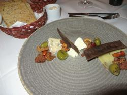 The three cheeses, Faroes, Denmark, Iceland, with olives, nuts and malt crisp bread (favorite)