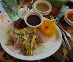Cuban shredded roasted pork with rice and plantains