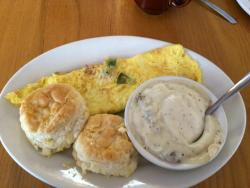 Western omelette with a side of sausage gravy