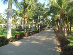 walk way down to the beach and pool from main hotel lobby