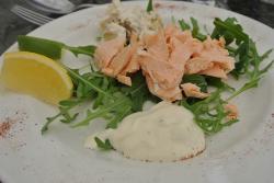Poached salmon starter