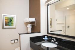 Guest Bathroom with Glass-Walled Shower at your Fairfield Inn & Suites Hotel in Fredericksburg,