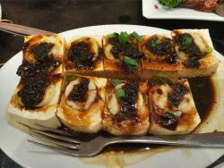 Steamed Beancurd with Scallop in Preserved Black Bean Sauce - less 1 pc eaten before the photo