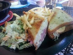 grilled reuben sandwich w/ fries + pasta salad