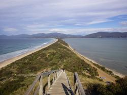 The view of The Neck on Tasmania's Bruny Island as seen from the viewing platform at the top,