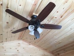 Ceiling fan inside of cabin