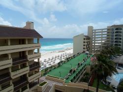 side view of beach, resort
