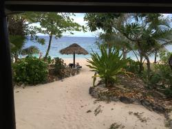 View from bure showing personal shade and loungers