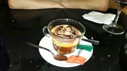 """""""Affogato in caffé"""" Cholocate icecream with nuts in an expresso coffee"""