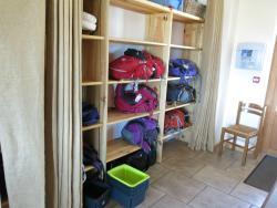 Place for rucksacks for hygiene reasons