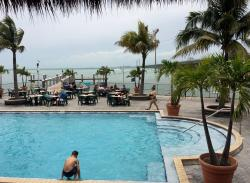 View from the pool deck and both Tiki bars