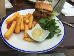 Pulled pork bap with delicious chips, salad & apple sauce