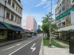 View of hotel (blue building) from Geylang Road