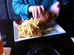 Tsukune Burger (chicken, teriaki, fired egg, shredded cabbage, hot mustard mayo)