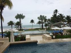 Molasses restaurant has a great poolside, golf course adjacent dining terrace just a short walk