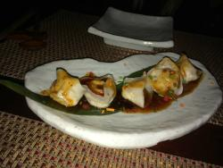 Spicy baby dumplings appetizer