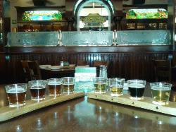 Beer flights in restaurant