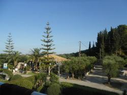 View from the main apartment near the bar and pool