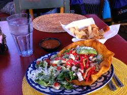 Delicious tostada salad--too large to finish!