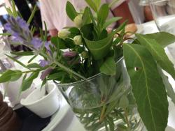 Such a lovely touch, the table decoration of lavender, orange blossom, Rosemary, sage and bay