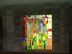 Saguaro Cactus stained glass inside entrance to hotel lobby
