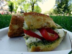 Tomato, mozzerella, and pesto sandwich