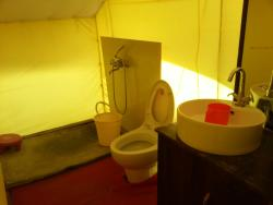 Bathroom inside tent