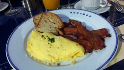 Omelet of the Day with Bacon and Wheat Toast