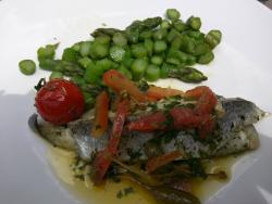 Sea Bream with fried asparagus