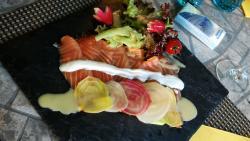 Saumon mariné, entrecôte et tartare de boeuf