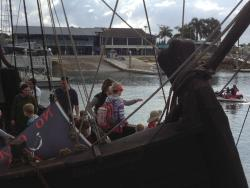 Moreton Bay Trailer Boat in background & a pirate ship in the foreground