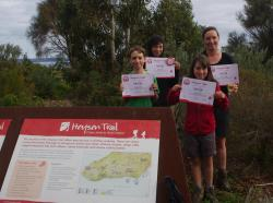 End to  End certificates held high after 1200 km of walking each day