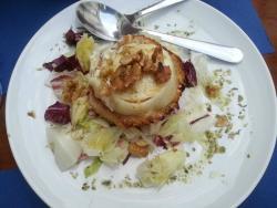 Entrada: Salada de queijo cabra, mel e nozes  (Goat cheese, honey and halnuts salad)