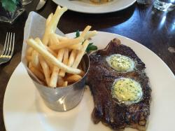 Sirloin with garlic and herb butter and french fries