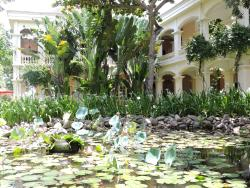Hotel courtyard and pond