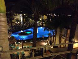 The large pool at night (the view from our apartment)
