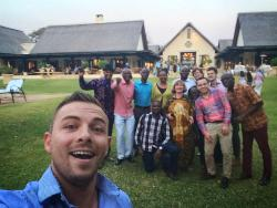 Our team enjoying our last evening together at the Royal Livingstone