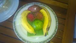 Our plate of fruit delivered to our room