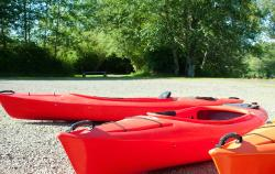 Kayaks ready to launch on Lake Quigg
