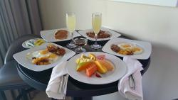 Room service Breakfast with mimosas