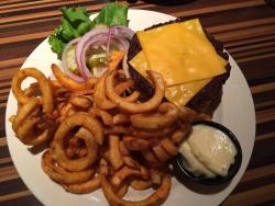 Cheeseburger and curly fries