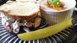 Homemade Chicken Salad Sandwich on Pistachio Cranberry Bread and Loaded Potato Soup