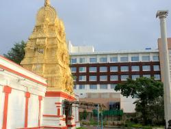 The Sri Kshetra Hebbala Devasthana temple behind the hotel