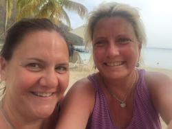 That's my best friend, Beth with Carlisle Bay's Legendary Beach expert, Jerome,...Beth and I hav