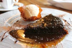 Sticky toffee pudding with Bailey's ice-cream