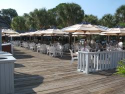 The outdoor seating area of the Salty Dog Cafe prior to opening for lunch