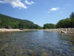 The peaceful Saco River at Sky Valley
