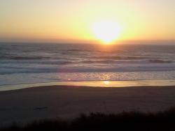 Wonderful view of ocean and beautiful sunset from our window.