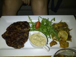 ribeye steak w arugulas n dijon mustard