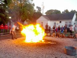 Torch throws the kerosene